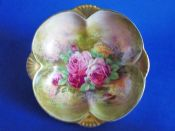 Royal Winton Hand Painted 'Roses' Dish signed Z. Kas c1945